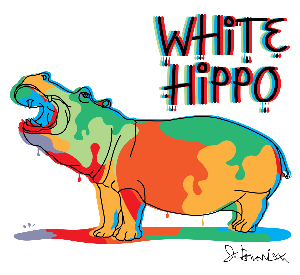 Colorful Hippo- white BG2-01